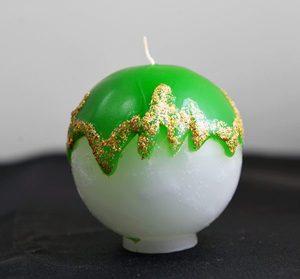 Свеча шар новогодняя зеленая