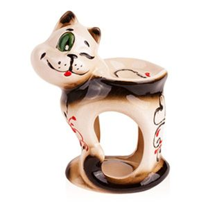 Аромалампа Кот с сердечком, керамика, 11х15 см