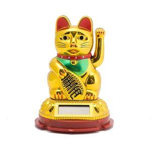 Манеки-кот на солнечной батарее, золотой