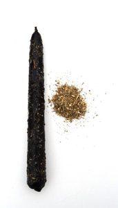 Свеча средняя с травами, черная с полынью фото