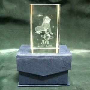 Призма с голограммой Зодиак Лев, 8 см, стекло