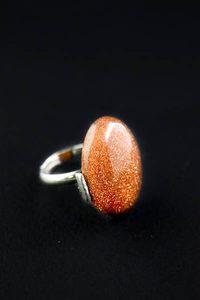Кольцо безразмерное с камнем. Авантюрин красный