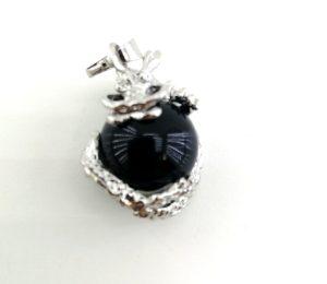 Кулон дракон с камнем маленький. Агат черный