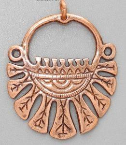 Девятилопастное височное кольцо (медь) фото