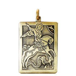Подвеска «Георгий Победоносец, повергающий змия» (латунь) фото
